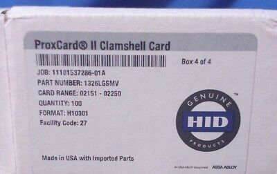 HID Proxcard II Clamshell Proximity Card 100 Cards Pack Box 1326LGSMV