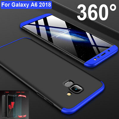 360° Full Cover Hybrid Armor Case for Samsung Galaxy A6 Plus 2018+Tempered Glass