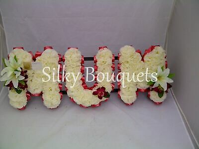 Mum Artificial Silk Funeral Flower Tribute Any 3 Letters Floral Wreath Nan Dad