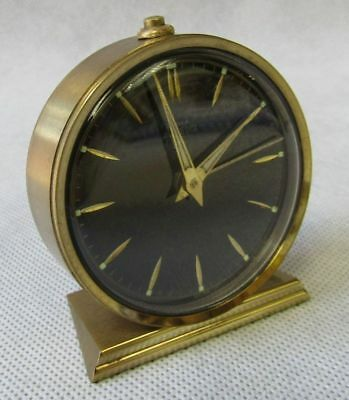 Vintage 1950s Cyma Brass Black Swiss Desk Travel Alarm Clock Working