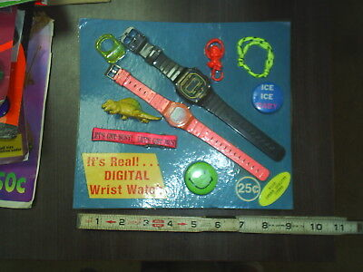 Vintage old Real digital watch asst DISPLAY toy mix original Gumball front card