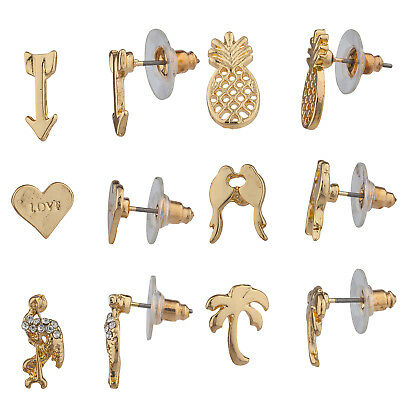 Lux Accessories Gold Tone Multiple Assorted Style Shaped Stud Earrings Set of 6