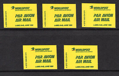 Lot 5 Obsolete USPS 1990 Worldpost Par Avion Air Mail Etiquette Labels #19-B