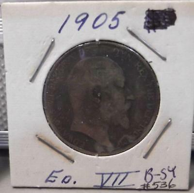 1905 One Penny Great Britain King Edwards VII Clad World Coin Circulated 536