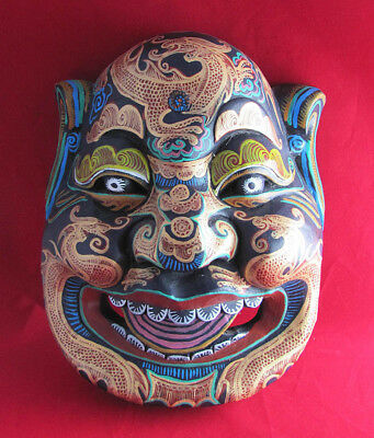 Hand Painted  Carved Wood Chinese Opera Mask Wei Chi Gong Guardian Against Evil