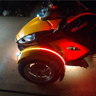 1x Dual Color Red Amber Fender Channel Flex LED Strips Can Am Spyder RS ST RT F3