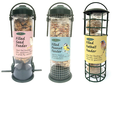 3x Oakdale Prefilled Wild Bird Feeder Seeds Peanut and Fat ball Value Bundle