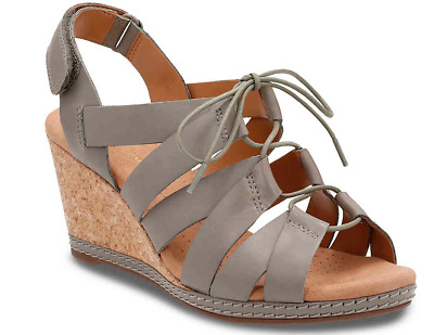 cf799509fa7 NEW w o Box Clarks Helio Mindin Wedge Sandals Womens Sz 8M Sage Leather Lace
