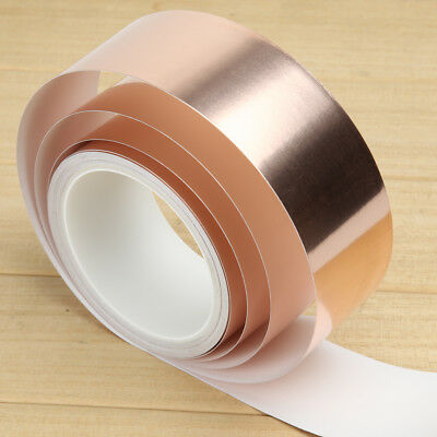 50mm*10M Copper Foil Tape EMI Shielding Guitar Slug Snail Barrier 1-Side Conduct