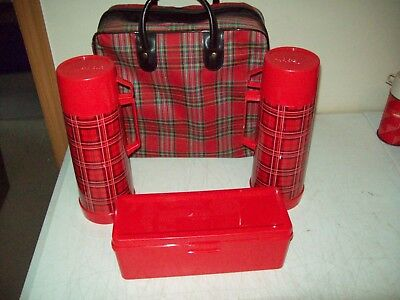 Vintage Aladdin Thermos Vacuum Bottle Picnic set two Thermoses with Lunch Box