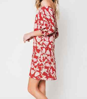 8eaa7c58158 FLYNN SKYE Off Shoulder Dress Hampton Red Floral Sexy 3/4 Sleeve Medium