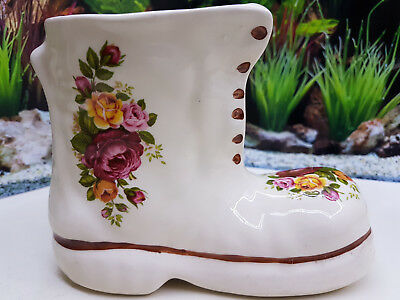 Vintage Floral Porcelain Boot Roses ( ROYAL ALBERT OLD COUNTRY ROSES STYLE)