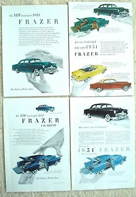 4 Vintage 1951 Kaiser Frazer Auto Ads Handcrafted Models The Pride of Willow Run