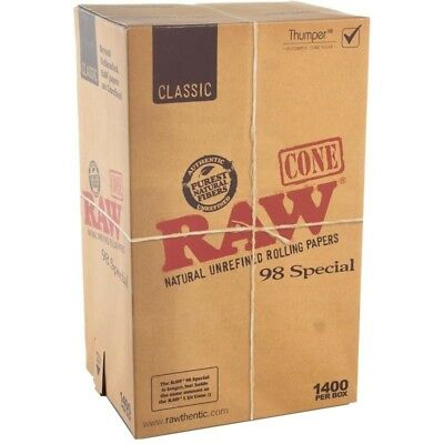 1400 Raw 98 Special Size Pre-Rolled Cones Natutal Unrefined + Hemp Tips Full Box