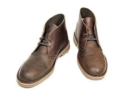 eb67faf20d5 CLARKS MENS BUSHACRE 2 Leather Round Toe Ankle Fashion Dark Brown Boots 13 M