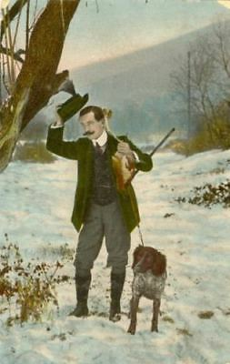 UNUSUAL Photo Postcard PC Munsterlander Hunting Dog & Man Netherlands c1910