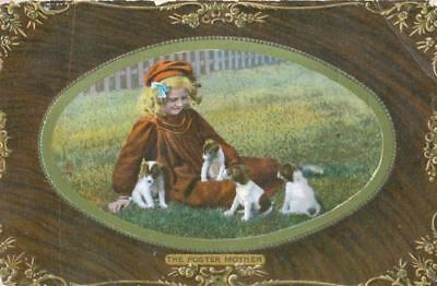 Old Dog Postcard Jack Russell or Fox Terrier Puppies & Girl England Tuck England
