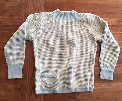 VTG MEGGI MADE GERMANY Baby Blue THICK NORDIC SKI WOOL SWEATER Small