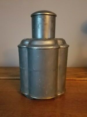 """Antique Vintage Chinese Pewter Tea Caddy 8.25""""H"""