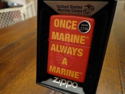 United States Marines Once A Marine Always A Marine Zippo Lighter Mint In Box