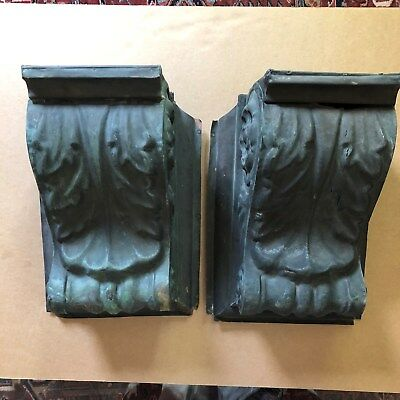 Pair Large Antique Copper Corbels, Wired for Lighting, Wall Mount