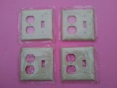 4 Vintage Sierra Electric Switch Outlet Plate Cover Combo (Ivory 2 Line Design)