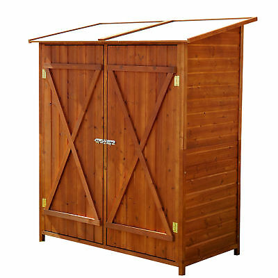 Outsunny Wood Cabinet Box Large Patio Storage Shed w/ 2 Doors Garden Wood