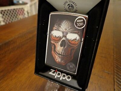 Anne Stokes Skull With Sunglasses Fire Zippo Lighter Mint In Box