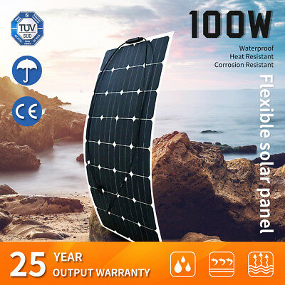 100W 12V Flexible Solar Panel Power Battery Mono Charging Caravan Camping 4WD