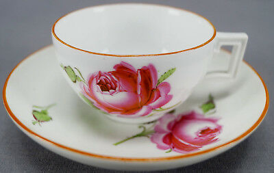 Meissen Marcolini Period Hand Painted Pink Rose Tea Cup & Saucer 1774 - 1817 B