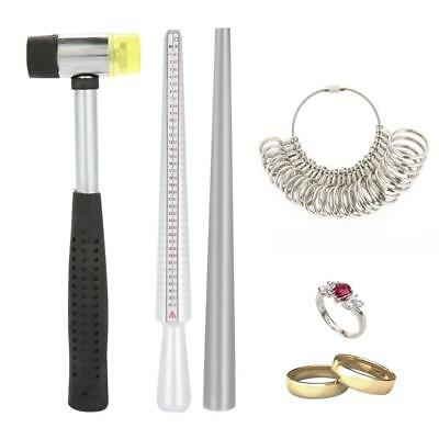 Metal Ring Sizer Gauge Stretcher Enlarger Jewelry Sizing Tool Sets Rubber Hammer