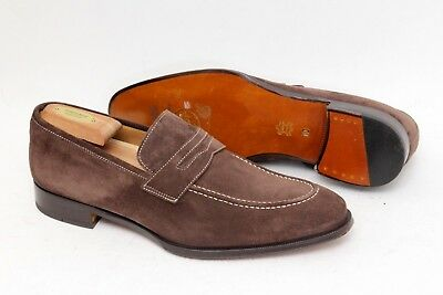 buy online b32d9 00f1b Di Bianco Scarpe Gallo Brown Tan Suede Penny Loafers Shoes Size 10 M - $595