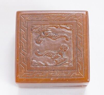 Rare China Shoushan Stone Carved Seal stamps With box