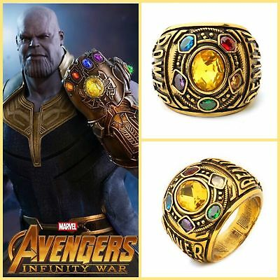 US! Thanos Infinity Gauntlet Ring Power War Avengers Cosplay Jewelry Stone 8 -12
