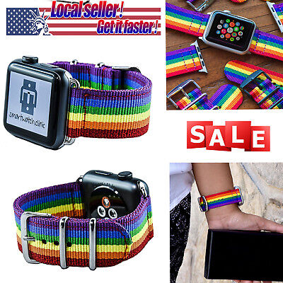 2018 Pride Edition Woven Nylon Band Rainbow Stripe For Apple Watch 38mm