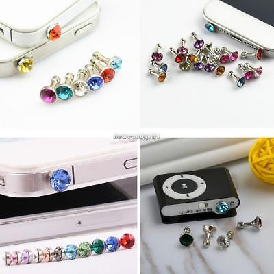 3.5mm Earphone Jack Artificial Diamond Anti Dust Plug Mobile Phone FF