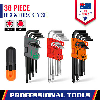 35Pc Hex Key + Temper Proof Torx Key Set Ball-End Allen Wrench Metric & Imperial
