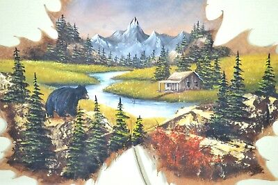 Vintage Hand Painted Mountain Cabin w/ Bear on Natural Leaf Picture