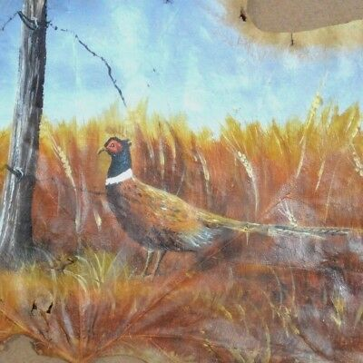 Vintage Hand Painted Pheasant in the Field on Natural Leaf Picture