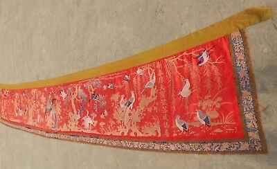 Huge Antique Chinese Hand Embroidery Hanging Panel 508X90 cm