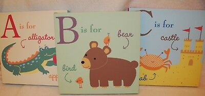 Kids Line 3 piece set ABC Alligator Bear Crab Canvas Art Baby Kids Nursery lot