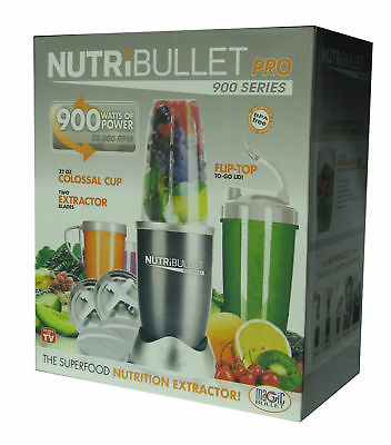 15-Piece Nutribullet Pro 900W Juicer Mixer Vegetable Blender Extractor Silver