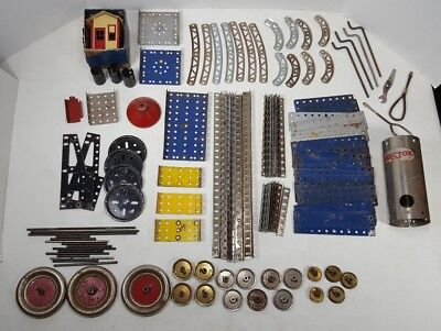 Vintage Gilbert Erector Set Mixed Lot Tin Litho Building Rare Antique Girders