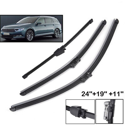 "3PCS/Set Front Rear Windscreen Wiper Blades Kit Fit For VW Passat B6 24""19""11"""