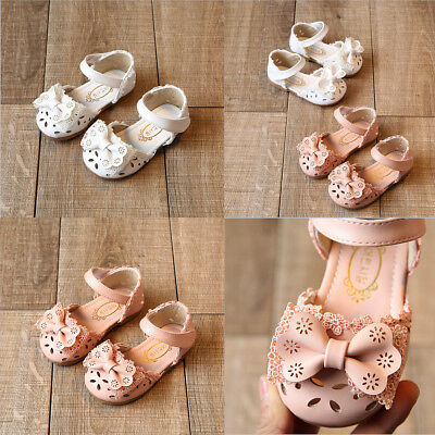 AU STOCK Baby Infant Kid Girl Soft Sole Crib Toddler Bowknot Summer Sandal Shoes
