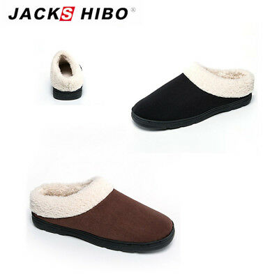 Mens Winter Slip On Slippers Indoor Home Plush Soft Warm Fur Cozy House Shoes