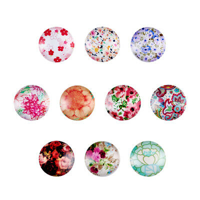 200 Flower Theme Flatback Glass Cabochons Half Round Dome Setting Covers 10~20mm