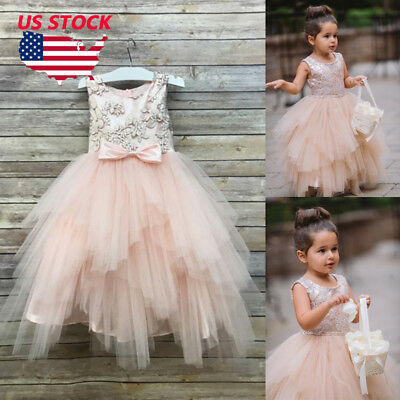 FLOWER GIRL PRINCESS Lace Bridesmaid Wedding Dress Gown Tulle Tutu ...