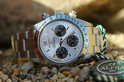 Alpha Mechanical chronograph SG2903 Watch Silver Dial And Glass Display Back 832