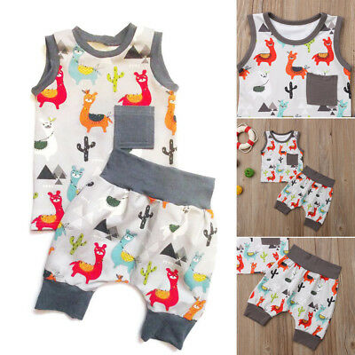2PCS Causal Kids Baby Boy Girl Clothes T-Shirt+Trousers Sports Pants Outfit 0-3Y